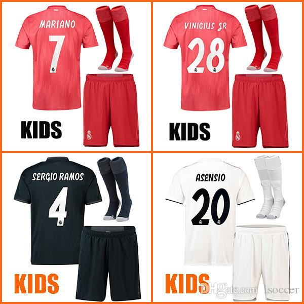 e2e08d1be 2019 Kids Real Madrid 18 19 Soccer Jersey MARIANO Football Shirt BALE RAMOS  KROOS BENZEMA ASENSIO MODRIC Camiseta 2018 2019 Real Madrid Maillot From  Isoccer ...