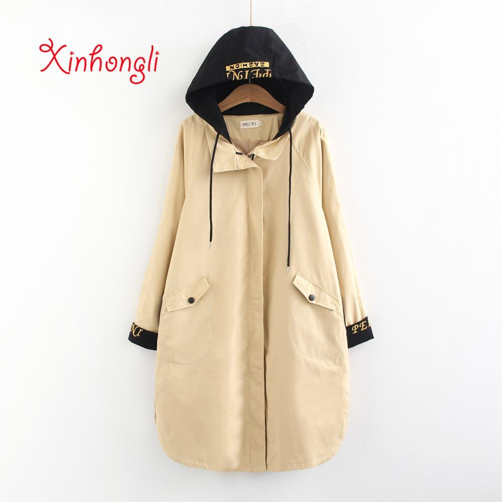 519722ac2 2019 Plus Size Women Embroidery Hooded Long Trench 2019 Spring NEW ...