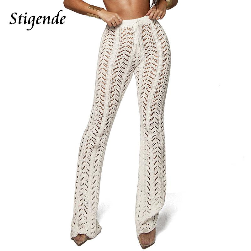 2019 Women Summer Beach Knitted Hollow Out Pants See Through Mesh