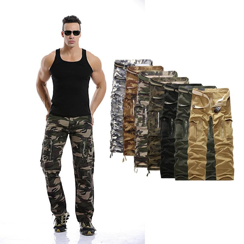 Mens Military Cargo Pants 2018 Men Hot Army Camouflage Long Outwear Cotton Pants Men Loose Trousers No Belt