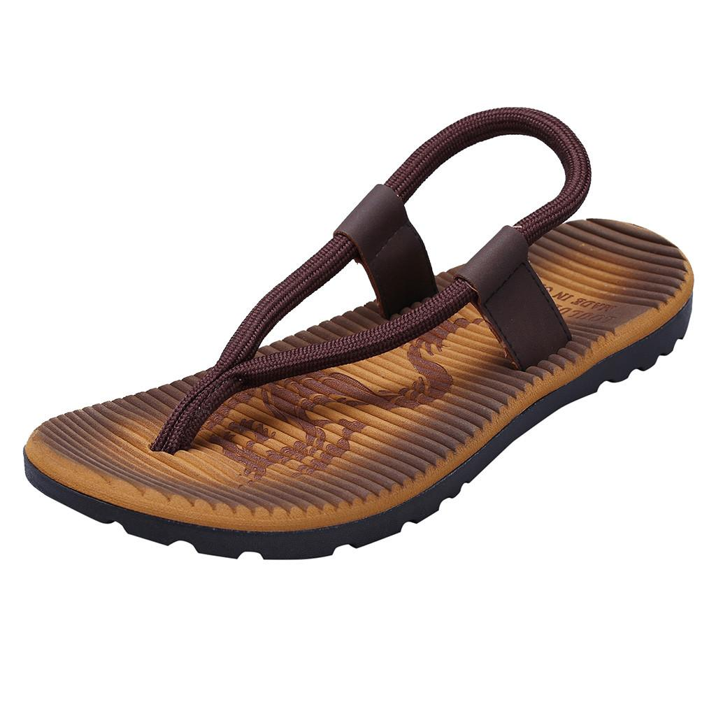 5677c8ce0 2019 Men S Fashion Beach Sandals Casual Summer Flip Flops Flat Heel Leather  Shoes Outdoor Skid Shoes Male Slides Fashion Loafers Shoes For Women Nude  Wedges ...