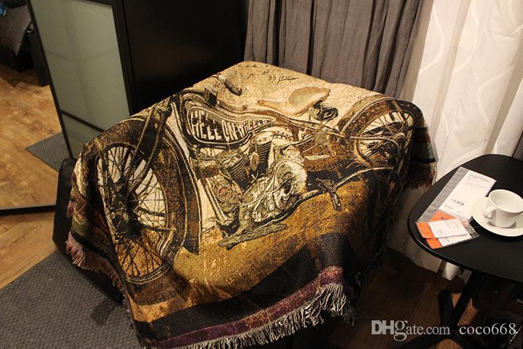 Tapestry Art Tapestry Decorative Blanket Motorcycle Bar Foreign Trade Cotton Covering Sofa Carpet Aliex Leisure sofa blanket 120X150cm