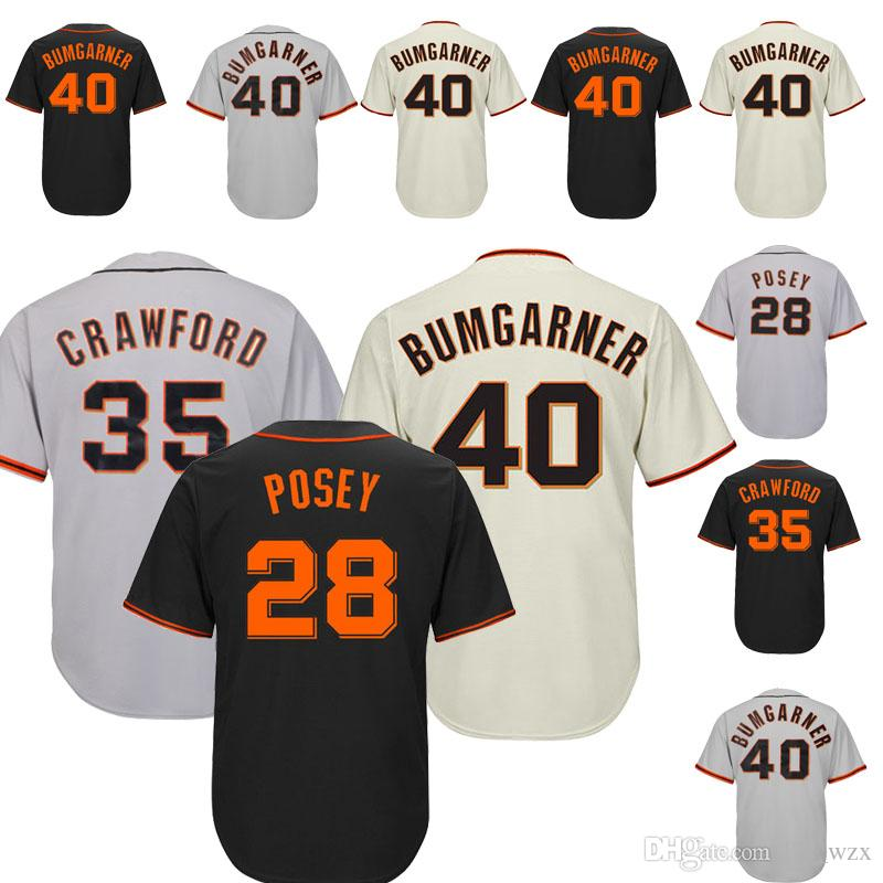uk availability 8864a a7a69 The New San Francisco Giants Baseball Jerseys Stitched 28 35 Brandon  Crawford 40 Madison Bumgarner Embroidery logo Top Quality