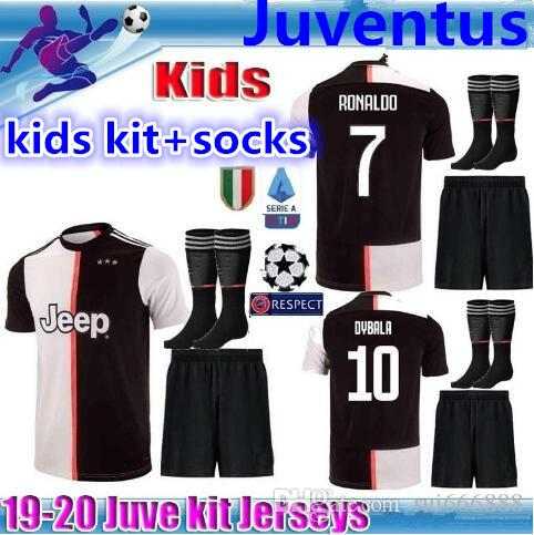 best authentic 3d64b 16cbe NEW 2019 20 Juventus Kids Kits RONALDO Juventus 2019 2020 soccer jerseys  DYBALA 19 20 football kit shirt MEN JUVE jersey