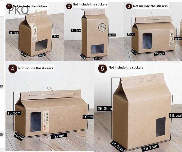 10pcs Kraft Paper Packaging Box Large Gift Boxes for /Cookie Brown Cupcake/Cake Box Craft Cardboard Carton High Quality