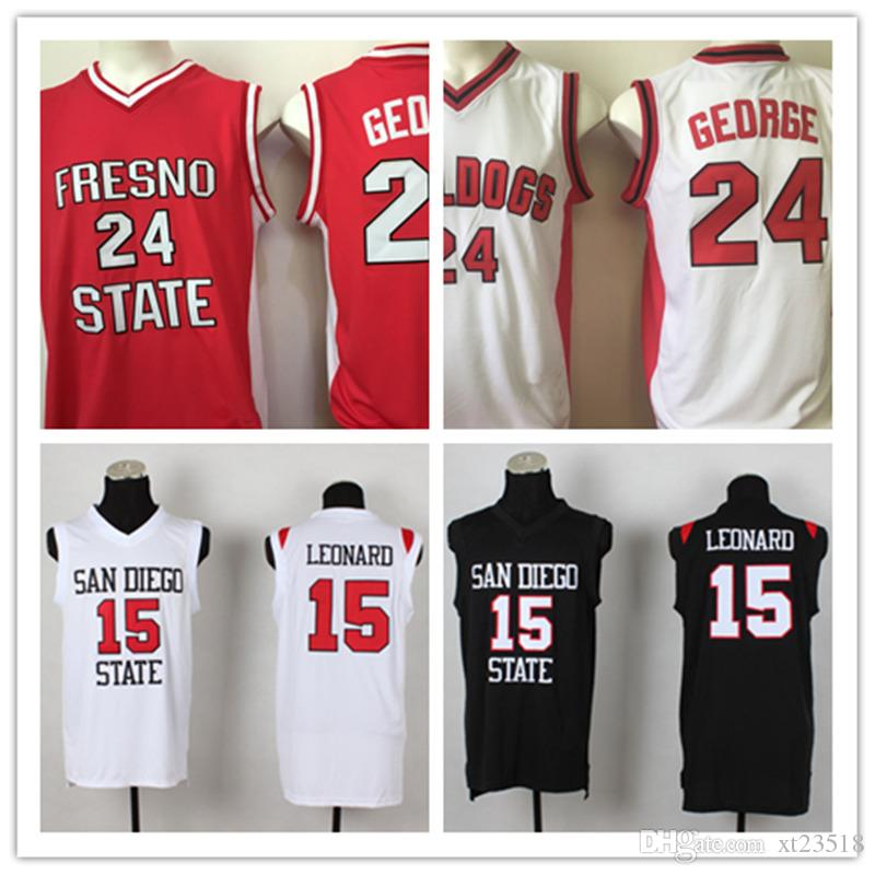 f494a3f5fba Cheap Mens NCAA San Diego State Aztecs Kawhi Leonard Basketball Jersey  Stitched  24 Paul George Fresno State Bulldogs Jersey S-3XL