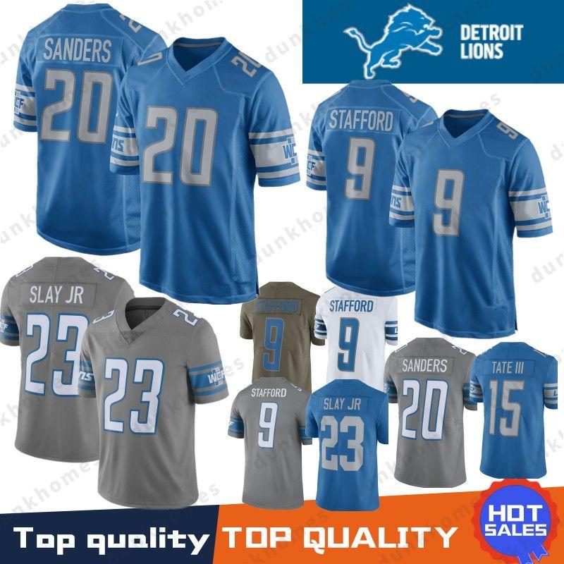 ab22f8ea Mens 9 Matthew Stafford Detroit Lions Jersey 20 Barry Sanders 15 ...