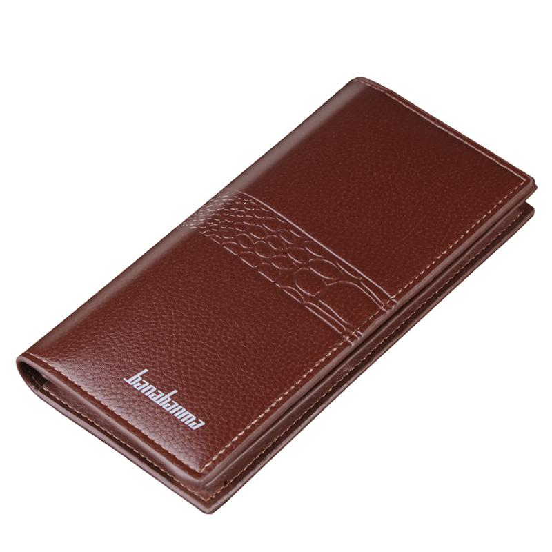 Classic Men Wallets Solid Color PU Leather Long Crocodile Pattern Multi-card Position Card Holder Hasp Zipper Phone Coin Purse