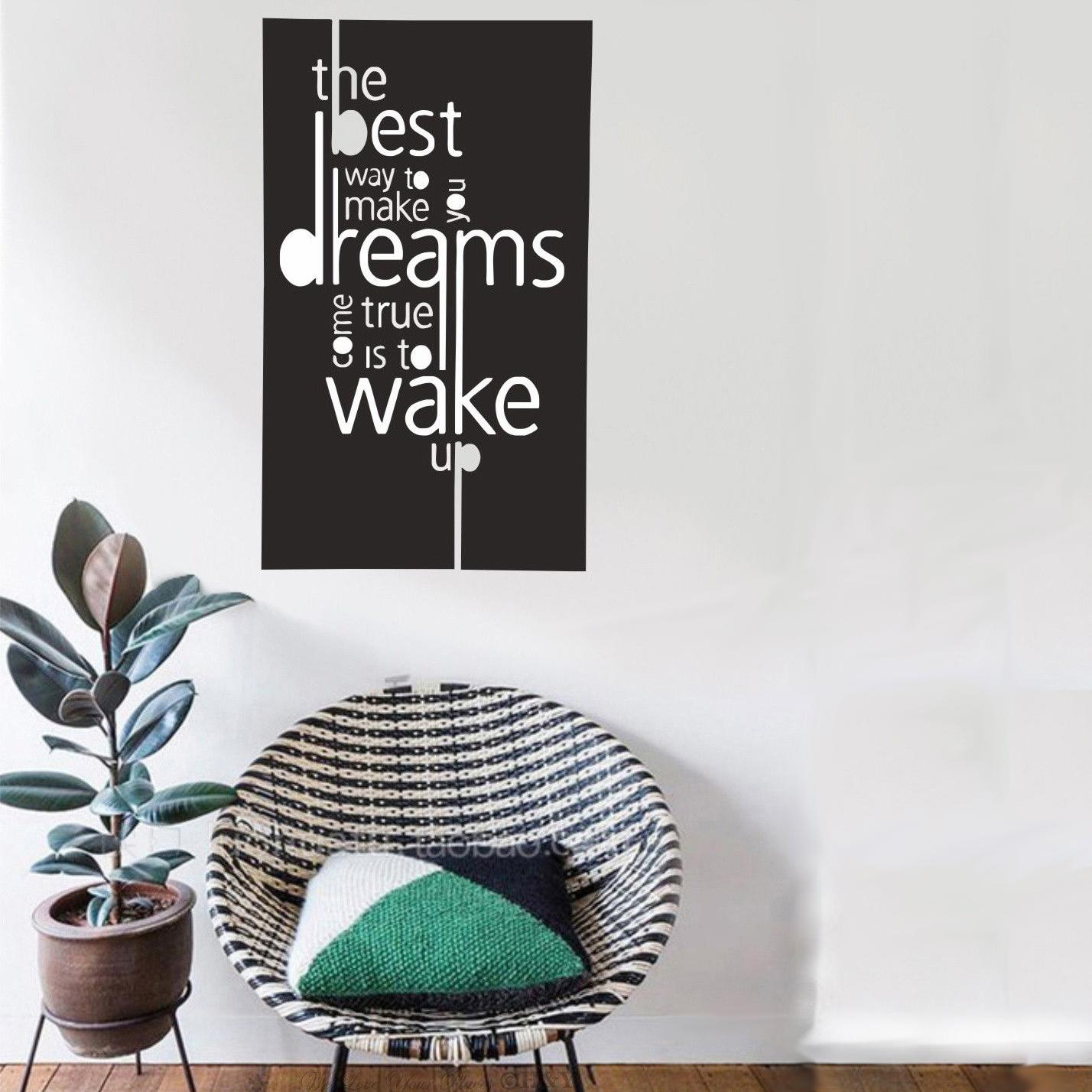 Make Dream Come True Inspirational Quotes Wall Sticker Decal Decor Art Painting Wall Stickers Vinyl Decor Decals