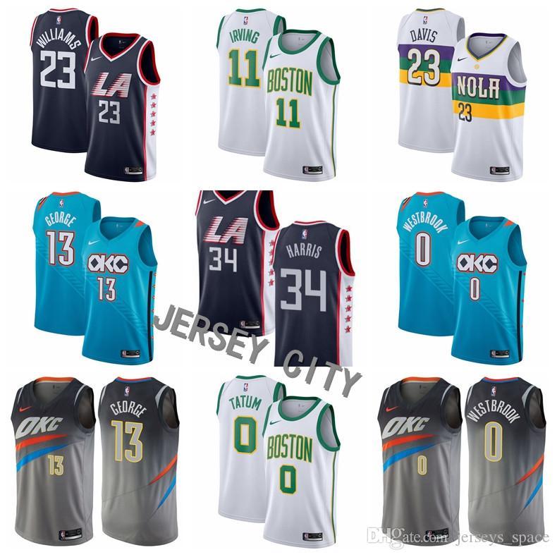 d0cdfce3530e 2019 2019 New City Edition Basketball Jerseys 11 Kyrie Irving 23 Anthony  Davis 0 Russell Westbrook 13 Paul George 0 Tatum 34 Pierce 23 Williams From  ...