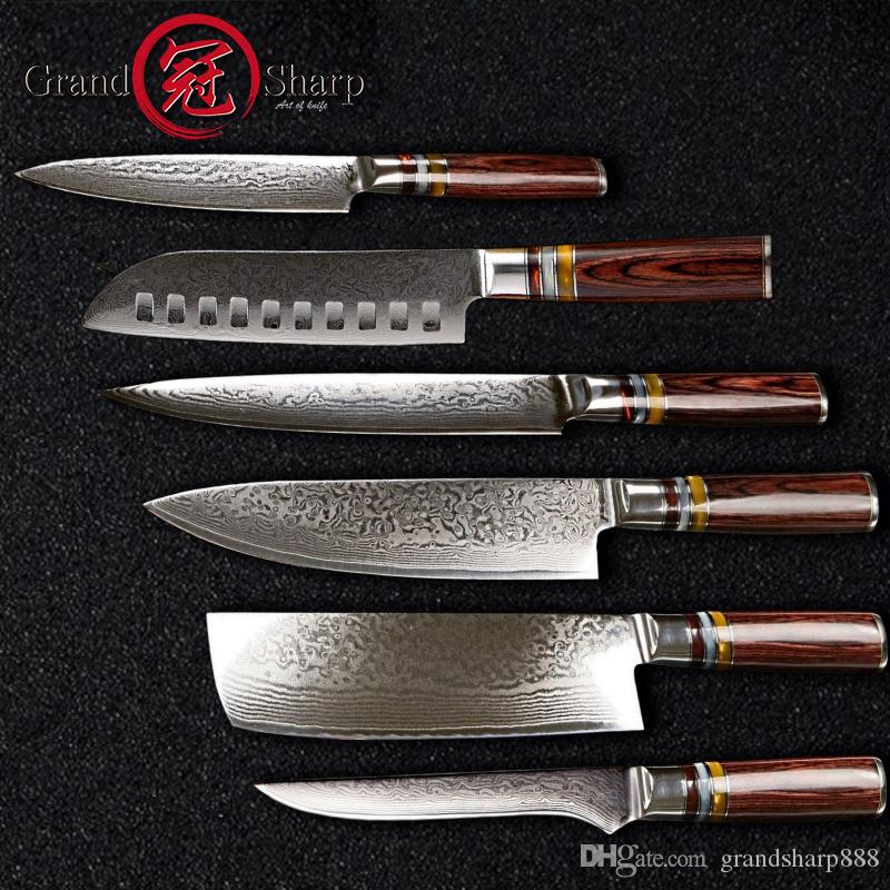 Fantastic 6 Pcs Chef Knife Set Professional Chef S Knives Vg10 Japanese Damascus Steel Best Family Gift Japanese Damascus Kitchen Knives Grandsharp Home Interior And Landscaping Ologienasavecom