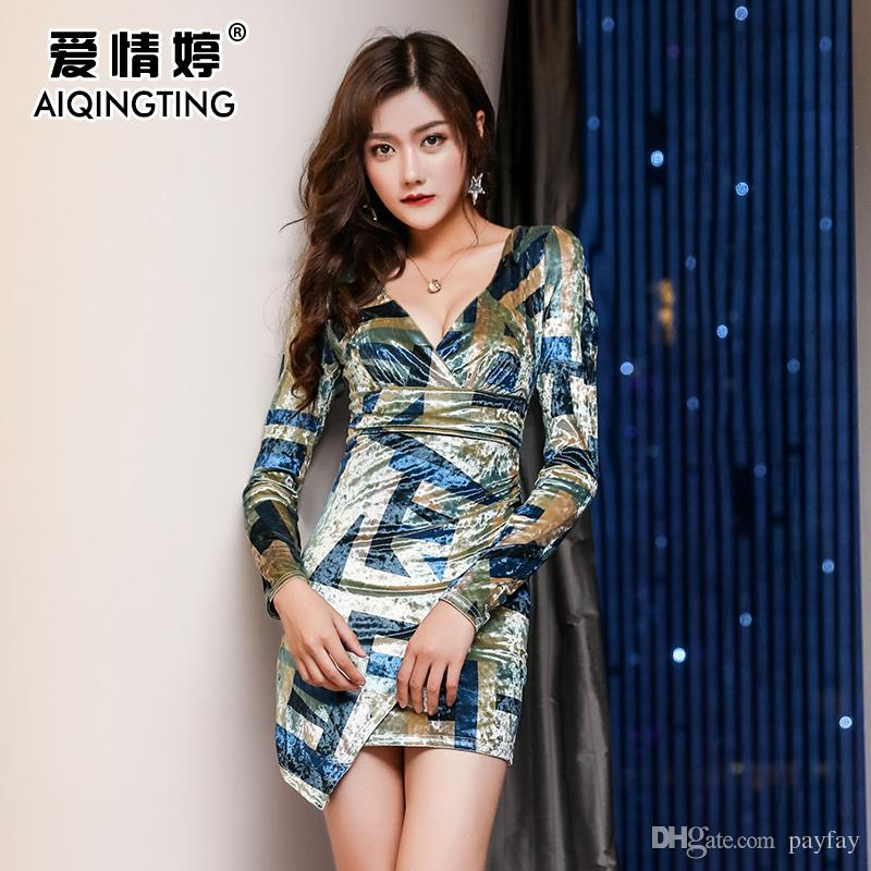 2019 Nightclub Dress Sexy Low Cut Deep V Bar Women S Large Size Was Thin  Tight Package Hip Long Sleeved Car Model Night Dress From Payfay 7a1507131