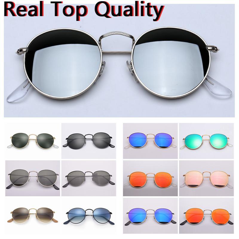 388227ddc Compre Gafas De Sol Redondas De Metal Reales Con Lentes De Vidrio UV400  Lentes De Sol Al Por Mayor, Funda De Cuero Original, Tela, Caja,  Accesorios, ...