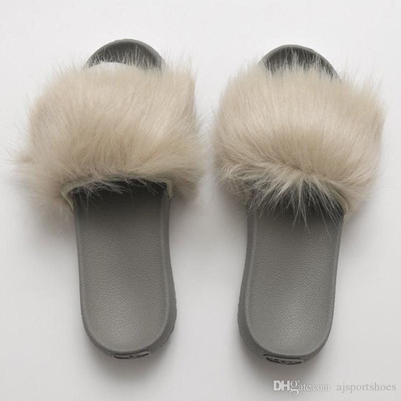 usa luxury brand pink women s fur slides real fur fluffy autumn