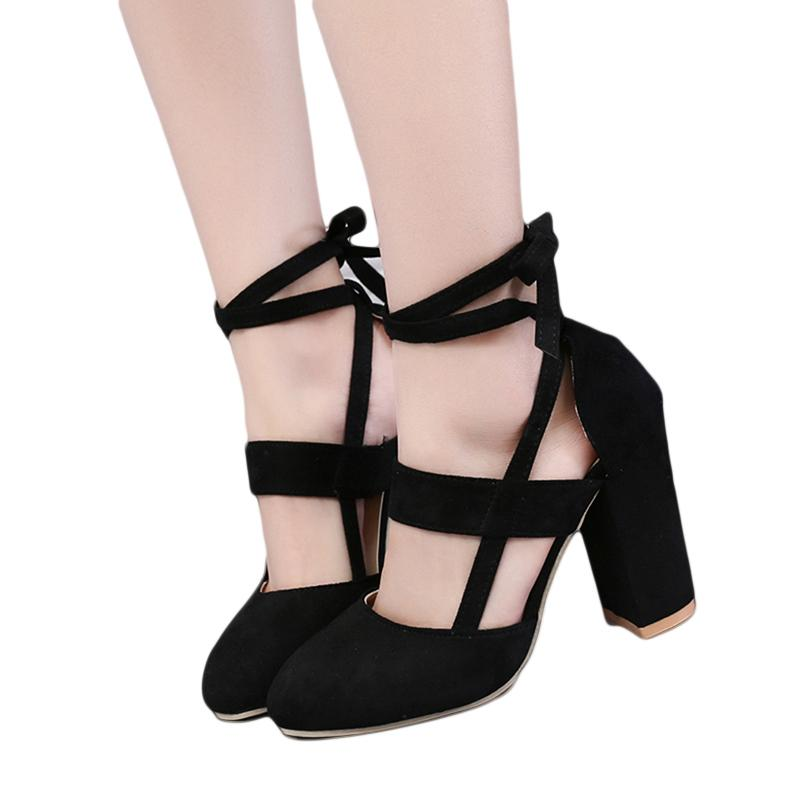 bb2e137b Compre Zapatos De Vestir De Diseñador Tacones Altos Gruesos Con Cordones  Sandalias De Las Mujeres Otoño Suede Flock Señoras De Cuero Bombas  Cuadrados ...