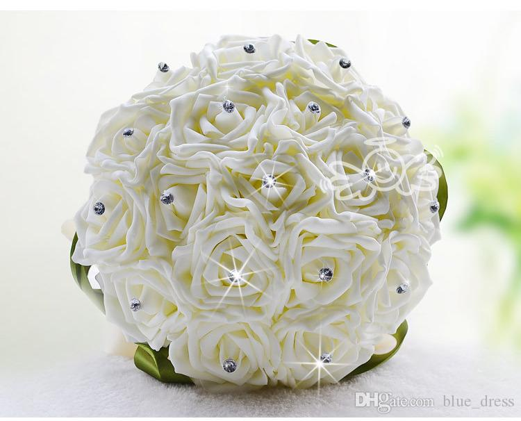 Best White New Bridesmaid Wedding Decoration Foamflowers Rose Bridal bouquet Satin Romantic Wedding bouquet Cheap Price