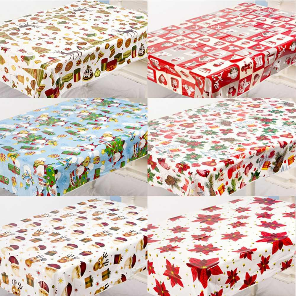 LAPHIL 110x180cm Christmas Tablecloth Santa Claus Snowman Xmas Flower Christmas Table Decoration for Home