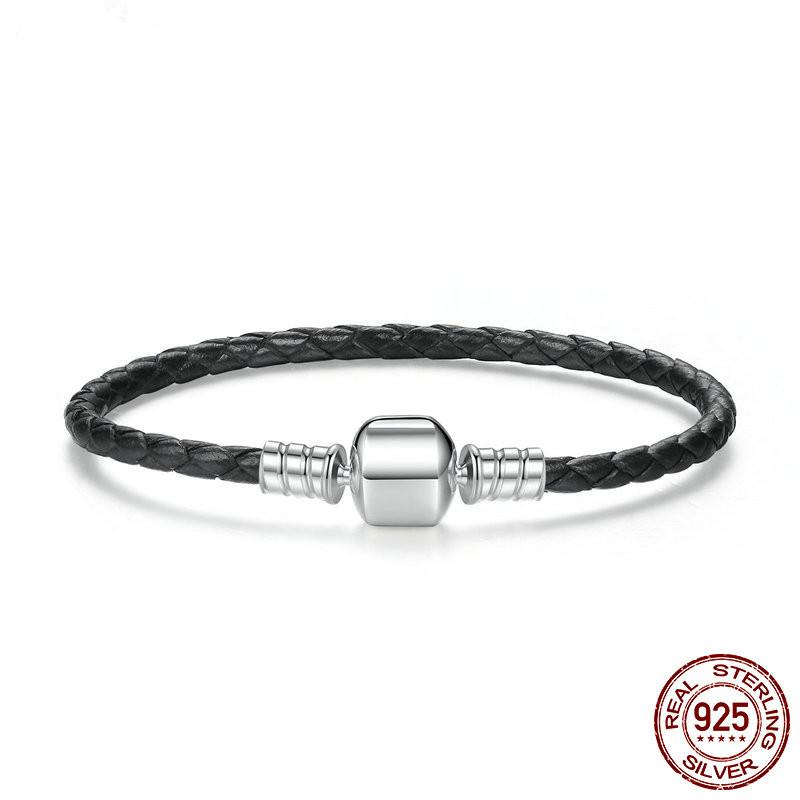 a912ed2eb Fashion New 100% 925 Sterling Silver & Real Black Leather Chain Charm Fit  Pan Bracelet For Women Men Original Fine Jewelry Grandma Charm Bracelet  Ladies ...