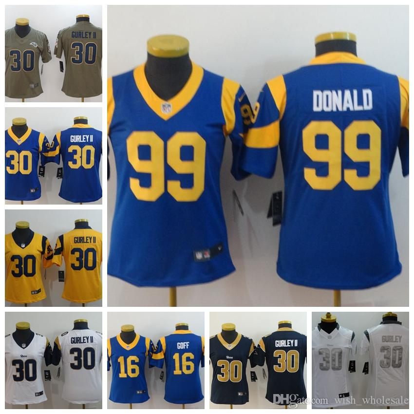 buy popular c6a04 c14b1 Los Angeles Rams 30 Todd Gurley II 16 Jared Goff Jersey 99 Aaron Donald 18  Cooper Kupp Yellow Deep blue Whit women jresey