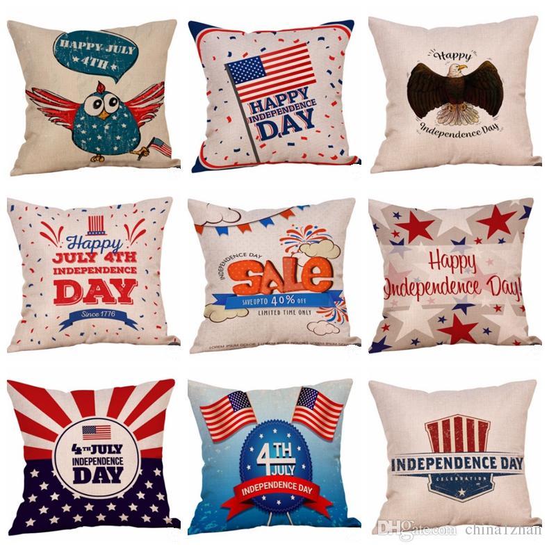 3dd0bf22bc506b Capas de Almofada Dia da Independência Listrado Star Throw Pillow Case  Impresso Capas de Almofadas Decorativas Home Decor 43 Projetos Atacado  DHW3214