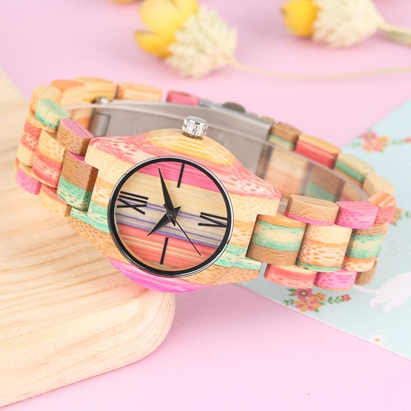 Colorful Natural Bamboo Case Watches Handmade Rome Digital Dial Quartz Wood Wristwatch Creative Multicolor Band Watch for Women