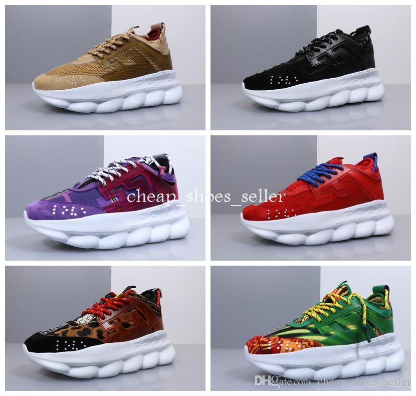 675f7b4cb0 Acheter 2019 Versace Chain Reaction Shoes Nouvelle Réaction De Chaîne  Designer Sneakers Casual Mode Sport Chaussures Décontractées Formateur  Léger Lien ...
