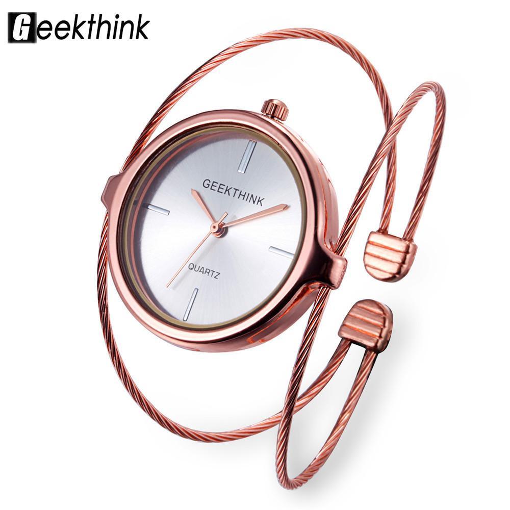 Compre 2018 Nueva Marca De Moda GEEKTHINK Reloj De Cuarzo Pulsera Mujer  Damas De Oro Rosa Reloj Mujer De Lujo Anillo Doble Banda De Acero Watces A   11.16 ... 7a0f337a222c