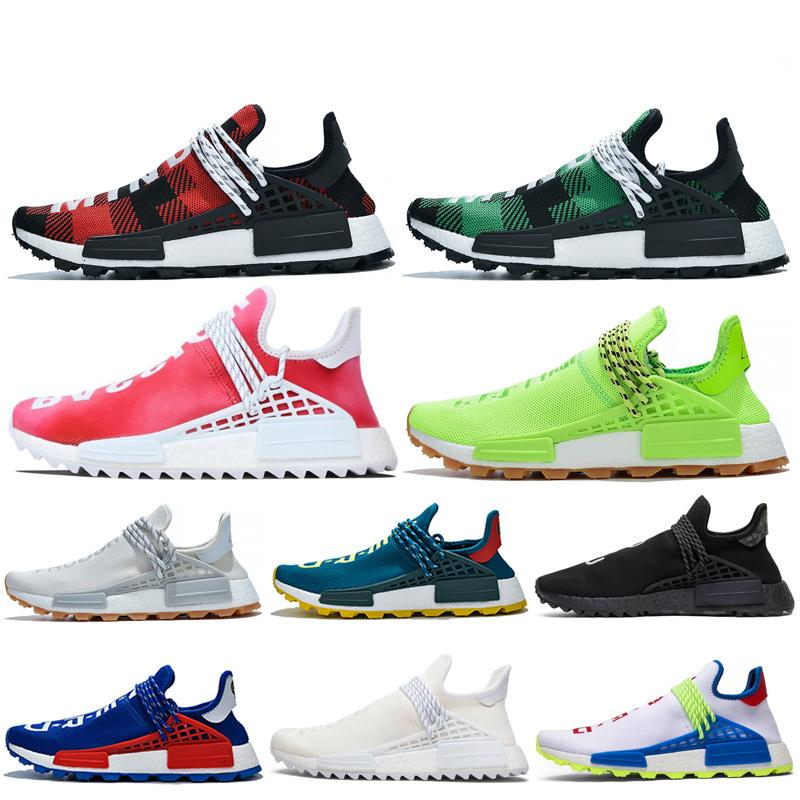 Top Fashion Raça humana Running Shoes Azul Amarelo Pw Hu Holi Mc Pharrell Williams Trail Trainers Homens Mulheres Runner Designer Sports Sneakers