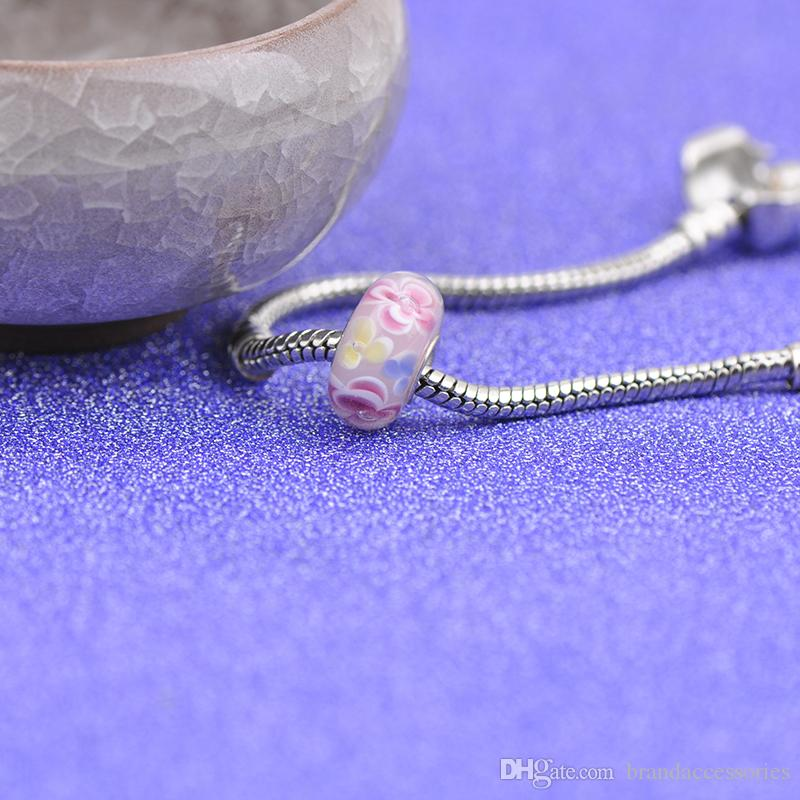 Shining Pink Flowers Murano Glass Beads S925 Silver Core Thread Charms Fit Pandora Bracelets Necklace DIY Girl Jewelry Findings PDZ109