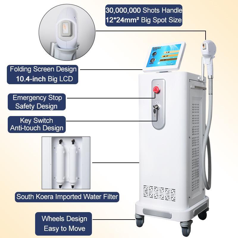 Cheveux plus récents équipements machine épilation 808nm laser à diode laser professionnelle permanente de réduction de la beauté approuvés par la FDA