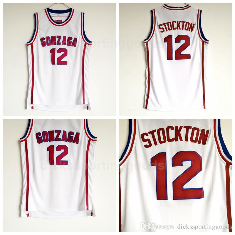 e3c9cefe3a97 2019 NCAA College 12 John Stockton Jersey Men High School Basketball  Gonzaga Bulldogs Jerseys Cheap University For Sport Fans Top Quality From  ...
