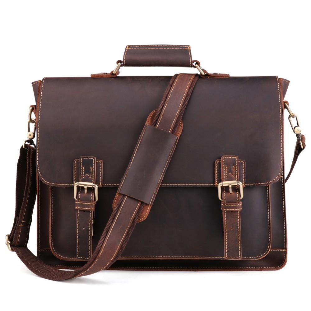 adcb1826efb6 Vintage Genuine Leather Mens Bags Tote Crossbody Bags Men S Briefcase Laptop  15   Messenger Bag Men S Shoulder Bag For Male Leather Holdall Men Bags  From ...