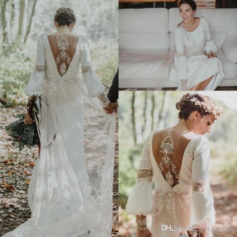 compre 2019 increíble boho vestidos de novia de manga larga de