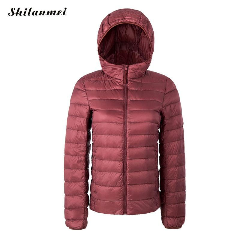 low priced 68a09 2129c Piumino ultralight invernale donna inverno 2019 Cappuccio a maniche lunghe  con cappuccio in piuma d anatra bianca Parka