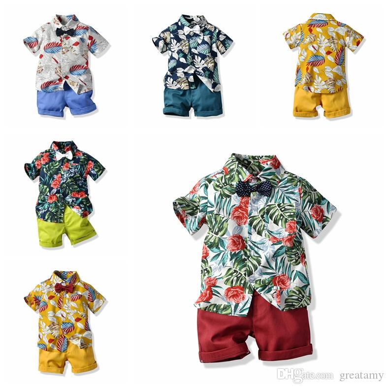 Boy Clothing Sets Kids Baby Boys designer Clothes suit Summer Floral Tie Shirt+Shorts 2PCS Outfits Children outfits for 2-6Y