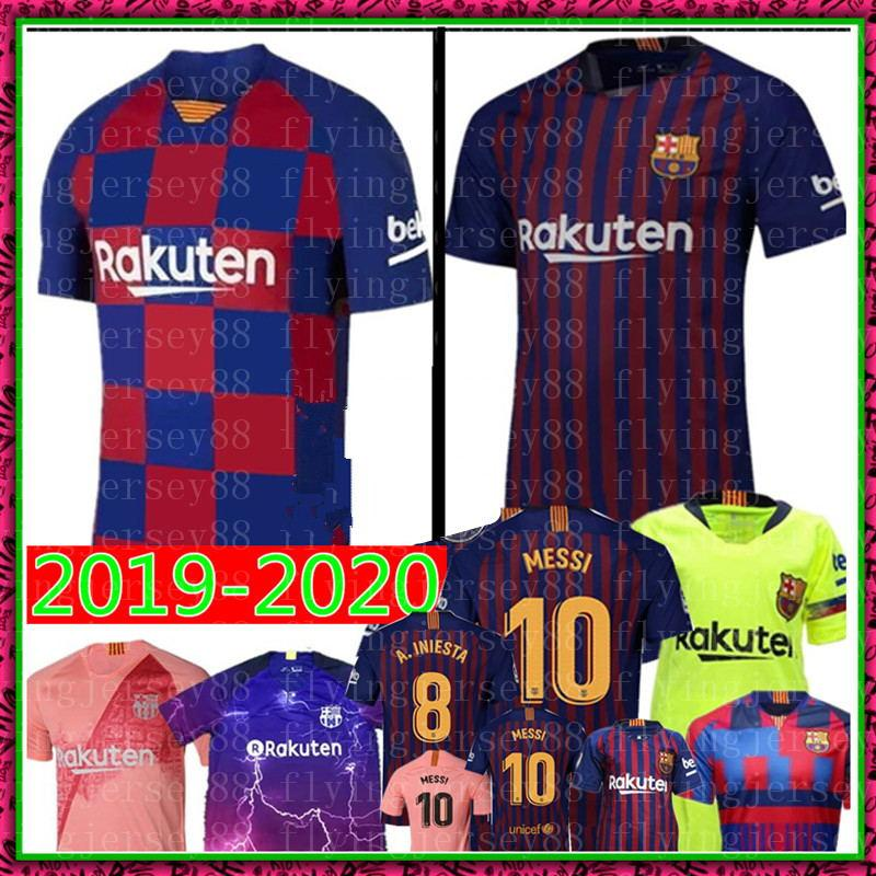 wholesale dealer 58b84 aab11 Barcelona MESSI #10 Soccer Jersey 2019-2020 A.INIESTA #8 Suárez #9 DEMBELE  #11 COUTINHO #14 football uniforms