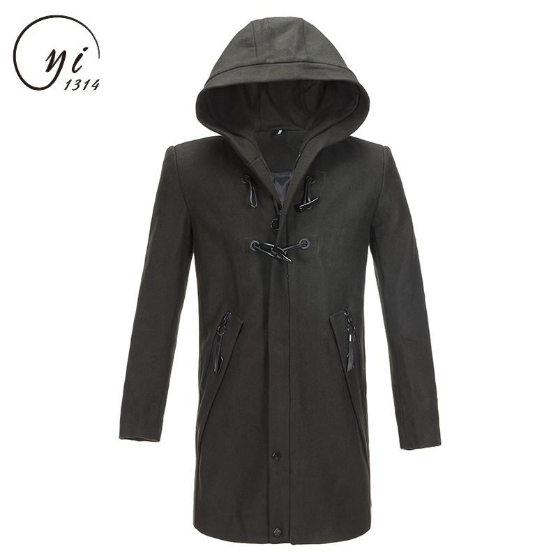 Casual Design Jackets Coat For Men Abrigo Largo Hombre Fashion Men Hooded Long Wool Blends Suit Design Wool Coat Manteau Homme