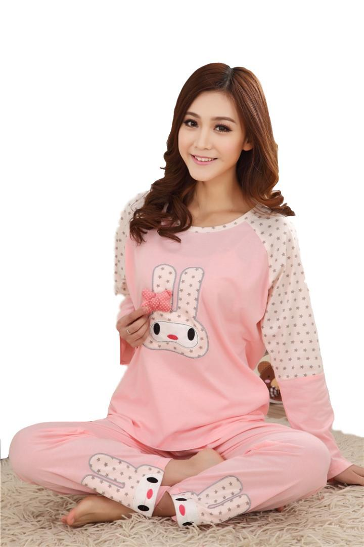 Cute Sleepwear Women Pajama Sets Women Cat Print Short Sleeve Round Neck White Tee And Blue Pants Pajama Set
