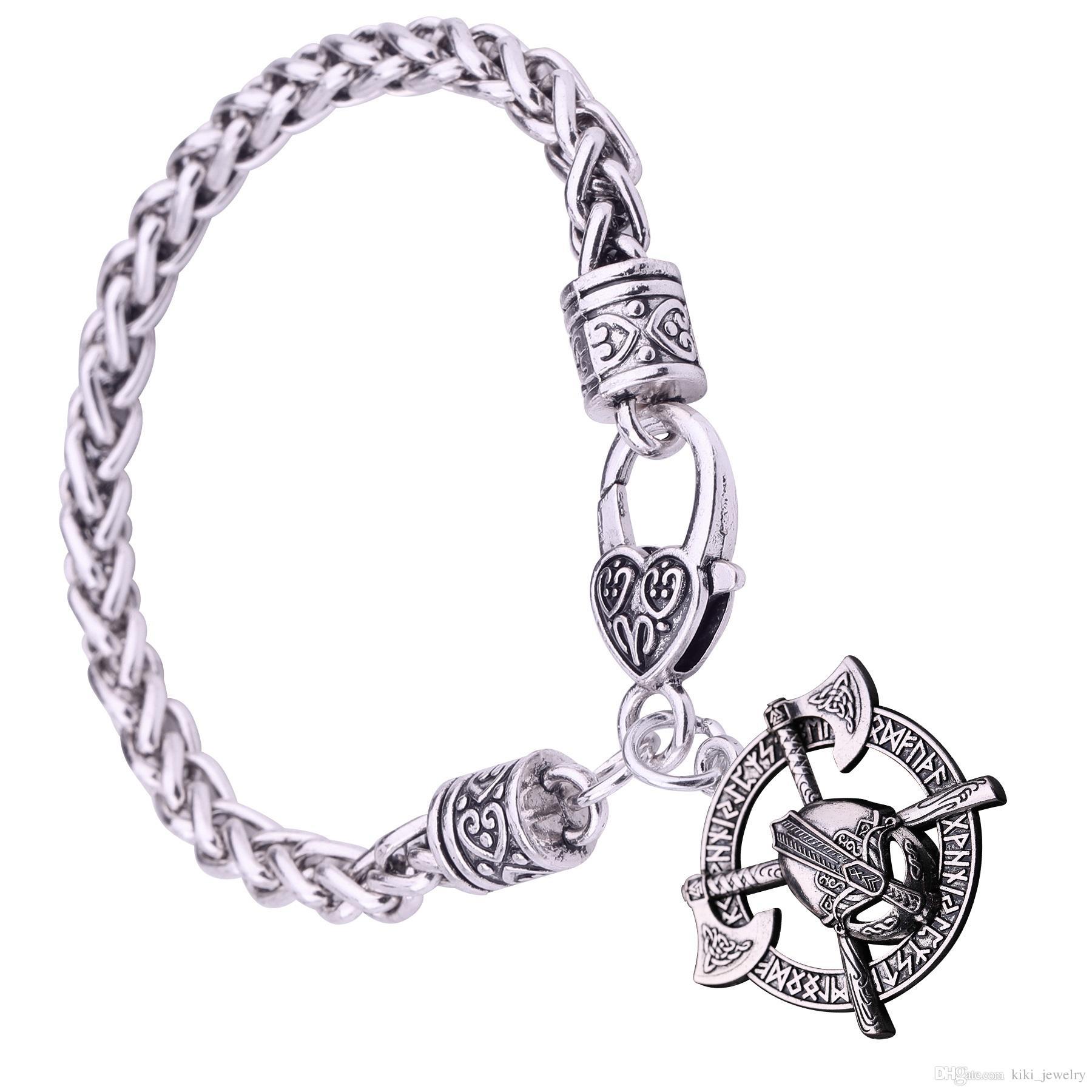 ecc8c34514b7f Myshape Hammer Of Thor Mask Bracelet Irish Knot Charm Bracelet Futhark  Runes Pendant Amulet Jewelry Hollow out Round Pendant