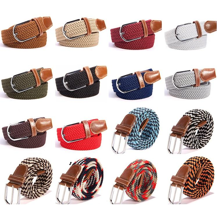 Fashion Unisex Elastic Stretch Belt 40 Colors Women Casual Braided Waistband Creative Mens Woven Canvas Pin Buckle Belt TTA1061