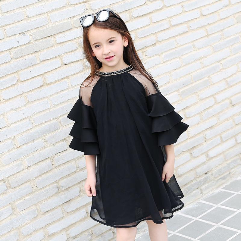 c9ba350492a7 Compre Vestidos De Gasa Para Niñas 2019 Verano Negro Ropa Para Niños  Adolescentes Chicas Grandes Vestido De Mangas Con Volantes 5 16 Años Vestido  De Niñas A ...