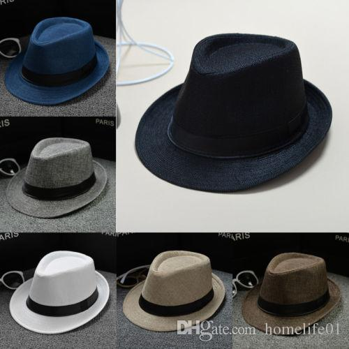 Fashion Unisex Straw Fedoras Sun Hat Panama Trilby Crushable Mens ... aaa4b6b1dab9