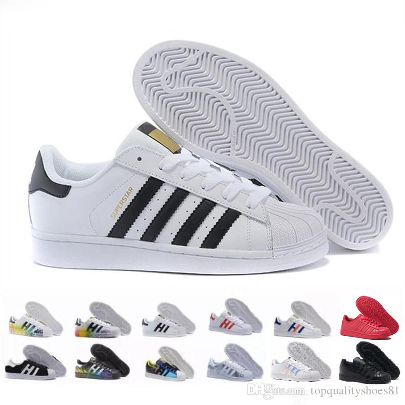 Superstar White Black Hologram Iridescent Junior Superstars 80s Pride Women Mens Trainers Shoes Super Star Sports Designer Men Sneaker
