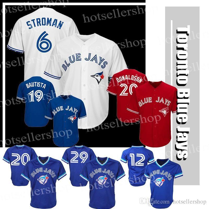 bb86257c8 2019 Toronto Blue Jays Baseball Jerseys 6 Marcus Stroman 20 2 12 Roberto  Alomar 29 Joe Carter 11 Kevin Pilar 19 Jose Bautista From New sports wear