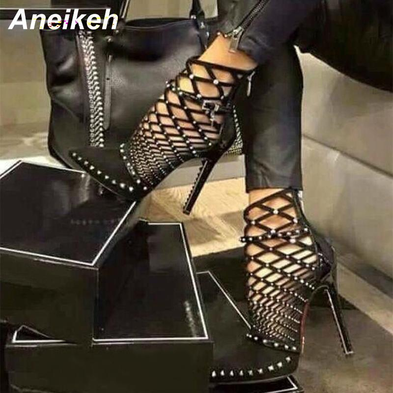 4f640d7c3b62 Aneikeh 2019 Gladiator Roman Sandals Summer Rivet Studded Cut Out Caged  Ankle Boots Stiletto High Heel Women Sexy Shoes Boot Boots For Women Black  Boots ...