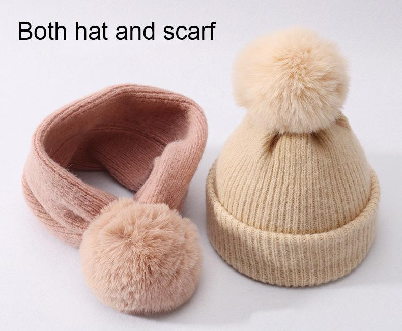 Children Winter Wool Cotton Hats Girls Real rabbit Fur Pompom Hat Kids girls Caps Beanies Hats Skullies Baby both hat and scarf