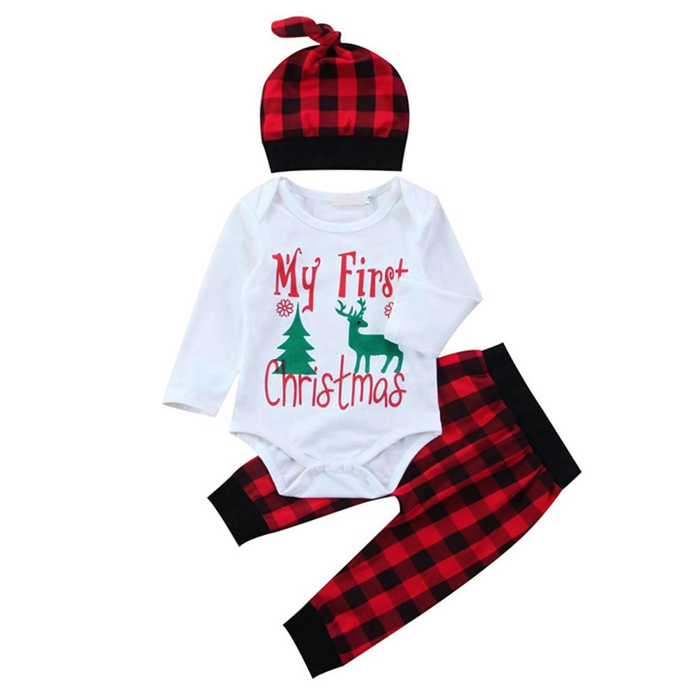1d721023fa1 2019 GRNSHTS Cute Newborn Clothing Set Baby Boy Girls First Christmas  Clothes Infant Romper Pants Hat Outfit Y18120801 From Shenping02