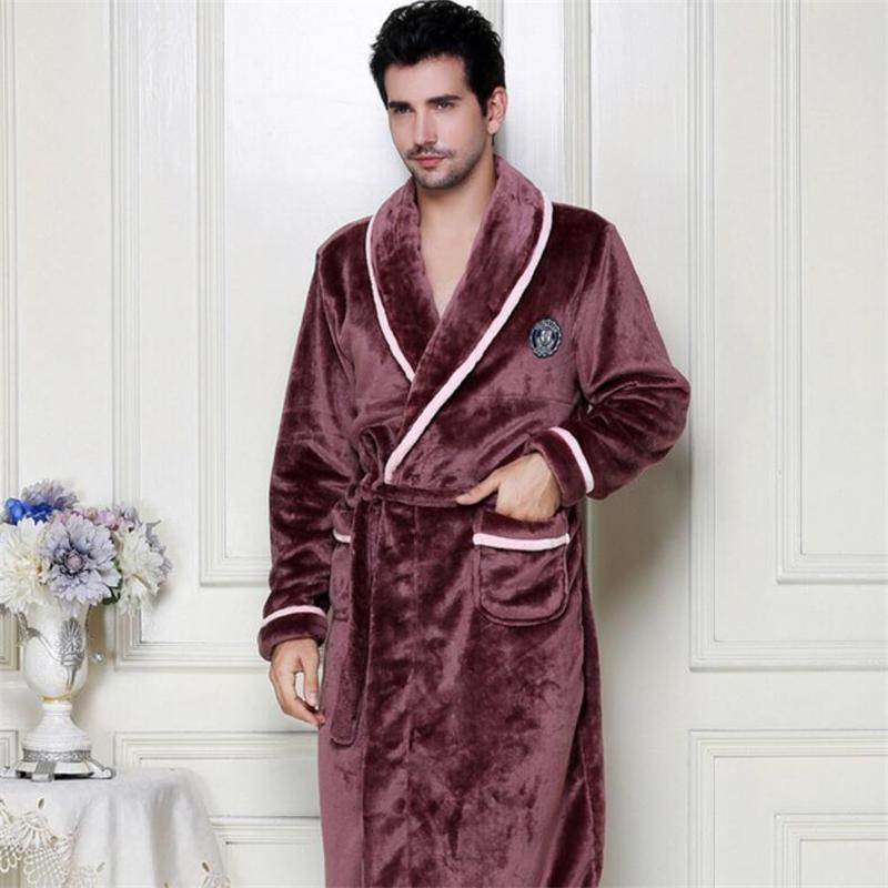 a7533aba3d0a 2019 IANLAN Mens Winter Flannel Bathrobe Long Coral Fleece Nightgowns For  Male Solid Thick Sleepwear With Waistband IL00440B From Cutelove66