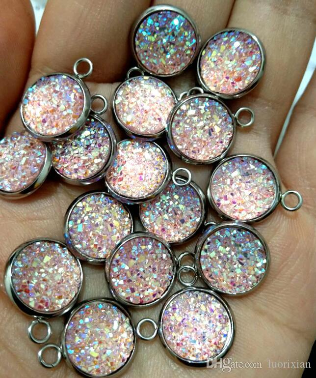 Stainless Steel Mermaid Fish Scale Charm Colorful Faux Druzy Cabochon Resin Round Drusy Charms 12mm