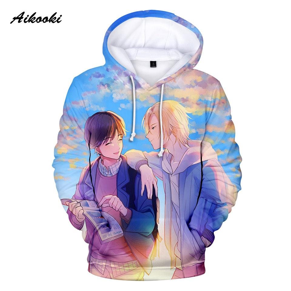 2019 hot anime banana fish hoodies cute men women sweatshirts hoody 3d print blue sky cartoon banana fish hooded boy girls polluvers from bida josh